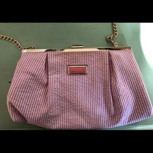 Pink and white Lilly Pulitzer seersucker clutch